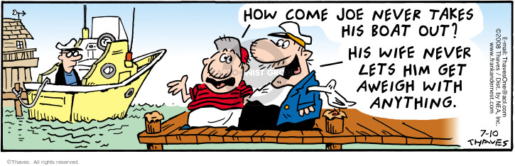 Comic Strip Bob Thaves Tom Thaves  Frank and Ernest 2008-07-10 boater
