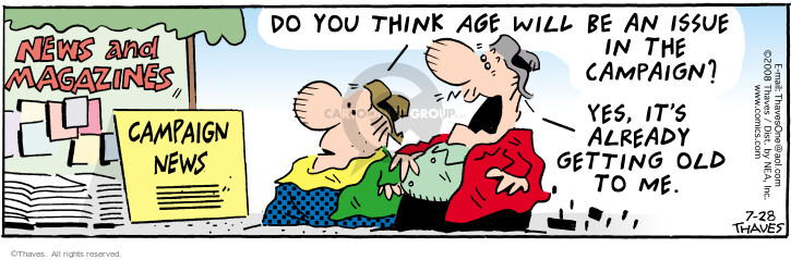 Comic Strip Bob Thaves Tom Thaves  Frank and Ernest 2008-07-28 get old