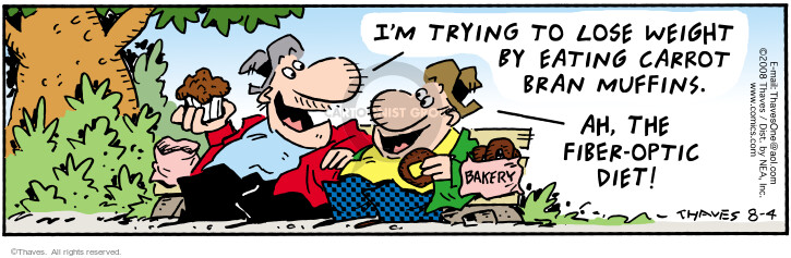 Comic Strip Bob Thaves Tom Thaves  Frank and Ernest 2008-08-04 weight