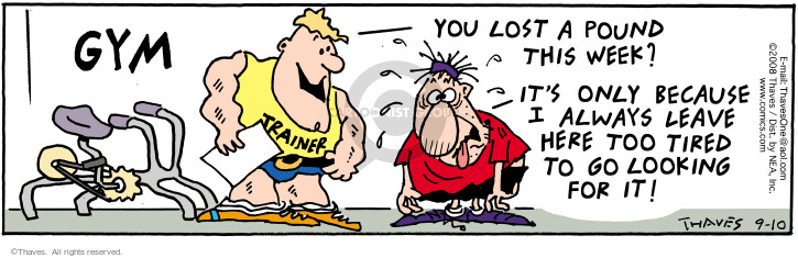 Comic Strip Bob Thaves Tom Thaves  Frank and Ernest 2008-09-10 fitness trainer