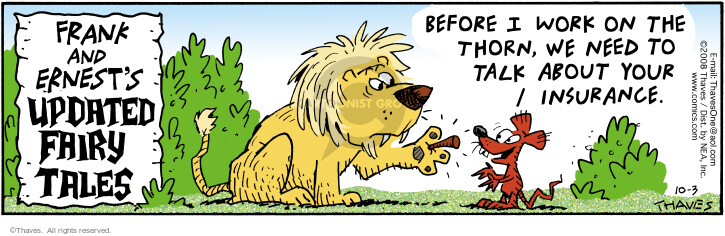 Comic Strip Bob Thaves Tom Thaves  Frank and Ernest 2008-10-03 lion