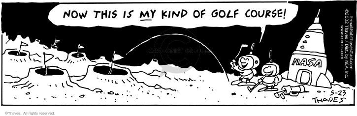 Comic Strip Bob Thaves Tom Thaves  Frank and Ernest 2002-05-23 golf hole
