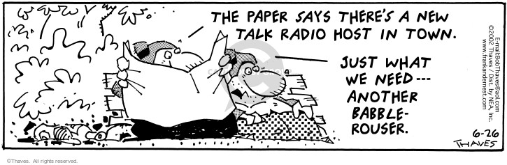 Cartoonist Bob Thaves Tom Thaves  Frank and Ernest 2002-06-26 radio