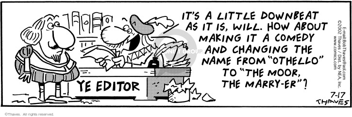 Cartoonist Bob Thaves Tom Thaves  Frank and Ernest 2002-07-17 tone change
