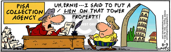 Comic Strip Bob Thaves Tom Thaves  Frank and Ernest 2002-08-03 liability
