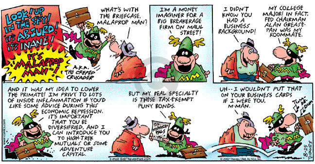 Comic Strip Bob Thaves Tom Thaves  Frank and Ernest 2002-08-25 venture capital
