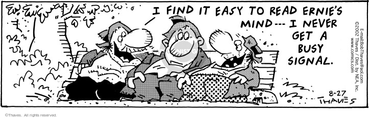 Comic Strip Bob Thaves Tom Thaves  Frank and Ernest 2002-08-27 parkbench
