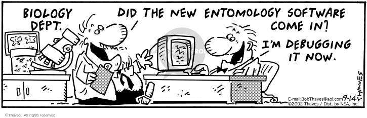 Comic Strip Bob Thaves Tom Thaves  Frank and Ernest 2002-09-14 technician