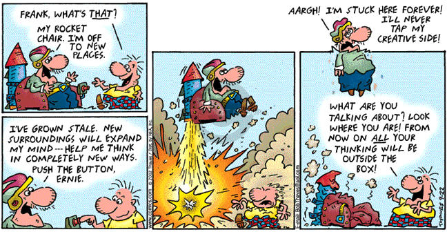 Comic Strip Bob Thaves Tom Thaves  Frank and Ernest 2002-09-22 vacation travel