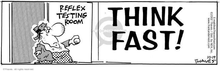 Cartoonist Bob Thaves Tom Thaves  Frank and Ernest 2002-10-19 nervous