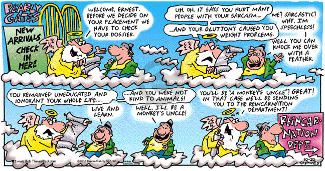 Comic Strip Bob Thaves Tom Thaves  Frank and Ernest 2002-10-20 arrival