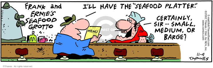 Comic Strip Bob Thaves Tom Thaves  Frank and Ernest 2002-11-04 lunch menu