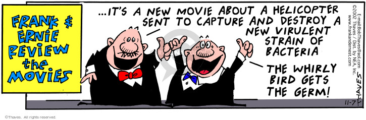 Comic Strip Bob Thaves Tom Thaves  Frank and Ernest 2002-11-07 adventure movie