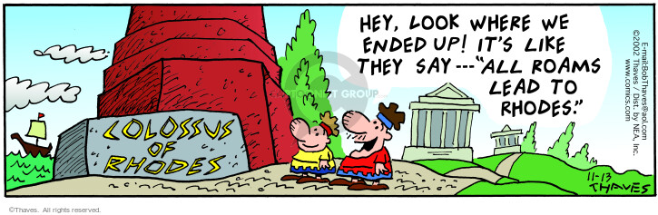 Comic Strip Bob Thaves Tom Thaves  Frank and Ernest 2002-11-13 arrival