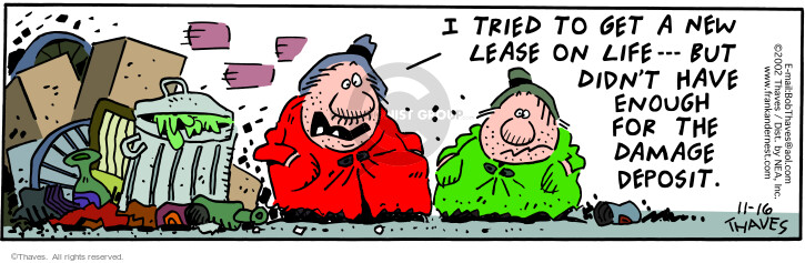 Comic Strip Bob Thaves Tom Thaves  Frank and Ernest 2002-11-16 damage