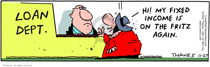 Comic Strip Bob Thaves Tom Thaves  Frank and Ernest 2002-11-27 financial institution