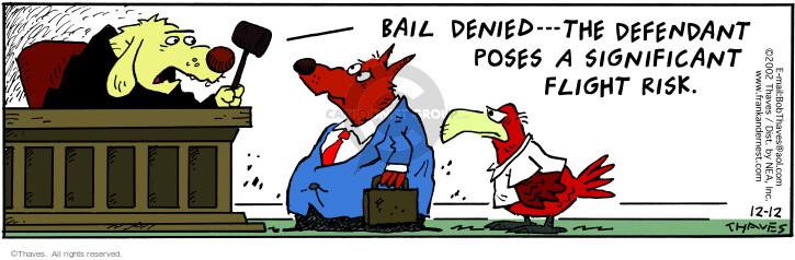 Comic Strip Bob Thaves Tom Thaves  Frank and Ernest 2002-12-12 defendant