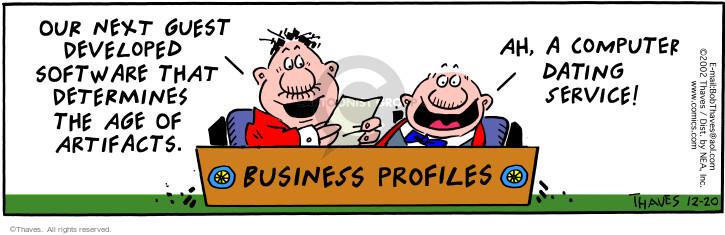 Cartoonist Bob Thaves Tom Thaves  Frank and Ernest 2002-12-20 software
