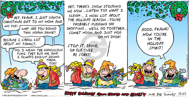 Comic Strip Bob Thaves Tom Thaves  Frank and Ernest 2002-12-22 festive