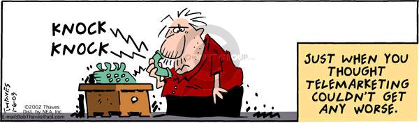 Cartoonist Bob Thaves Tom Thaves  Frank and Ernest 2003-01-06 inferior