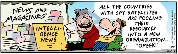 Comic Strip Bob Thaves Tom Thaves  Frank and Ernest 2003-01-22 spy