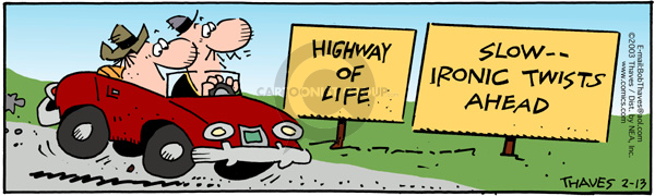 Comic Strip Bob Thaves Tom Thaves  Frank and Ernest 2003-02-13 road sign