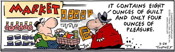 Cartoonist Bob Thaves Tom Thaves  Frank and Ernest 2003-03-24 supermarket