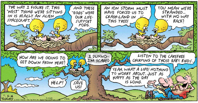 Comic Strip Bob Thaves Tom Thaves  Frank and Ernest 2003-05-04 storm