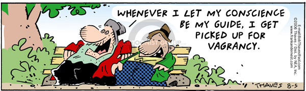 Comic Strip Bob Thaves Tom Thaves  Frank and Ernest 2006-08-05 bench