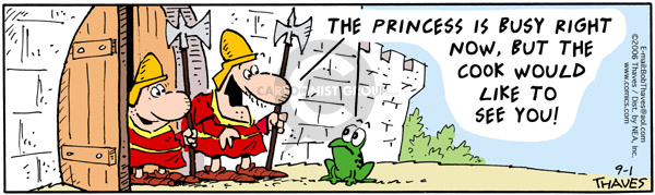 Comic Strip Bob Thaves Tom Thaves  Frank and Ernest 2006-09-01 frog