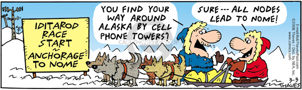 Comic Strip Bob Thaves Tom Thaves  Frank and Ernest 2006-03-03 dog racing