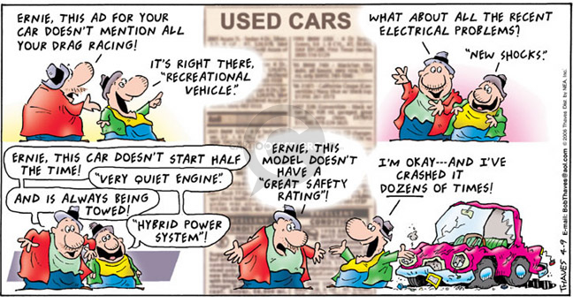 Comic Strip Bob Thaves Tom Thaves  Frank and Ernest 2006-04-09 car safety