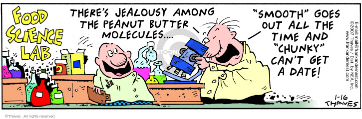 Cartoonist Bob Thaves Tom Thaves  Frank and Ernest 2007-01-16 jealousy