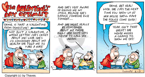 Cartoonist Bob Thaves Tom Thaves  Frank and Ernest 1998-02-15 Valentine's Day