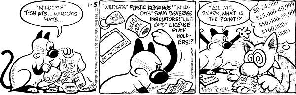 """Wildcats"" T-shirts…""Wildcats"" hats … ""Wildcats"" plastic keyrings!  ""Wildcats"" foam beverage insulators!  ""Wildcats"" license plate holder!?  Tell me, Snark, what is the point?!  $0 - 24,999  $25,000 - 49,999 $50,000 - 99,999 $100,000+"