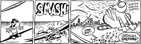 SMASH! LOOK OUT!! Catzillas shedding!! Scritch Scritch Scritch