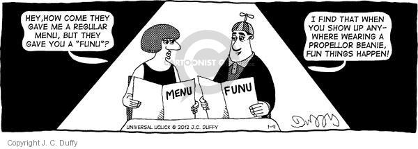 Cartoonist J.C. Duffy  Fusco Brothers 2012-01-09 eating out