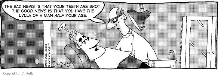 The bad news is that your teeth are shot. The good news is that you have the uvula of a man half your age. ?