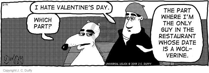 Cartoonist J.C. Duffy  Fusco Brothers 2013-02-14 Valentine's Day