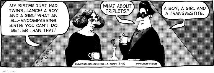 Comic Strip J.C. Duffy  Fusco Brothers 2014-08-18 female