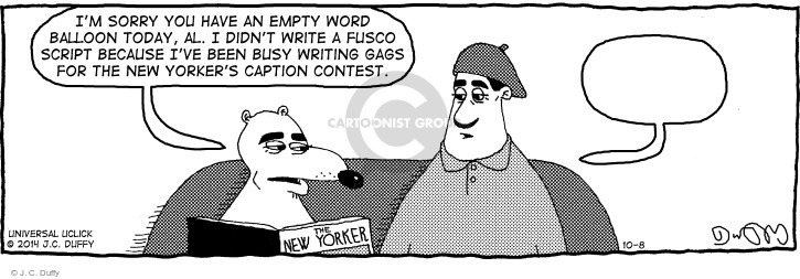 Comic Strip J.C. Duffy  Fusco Brothers 2014-10-08 because