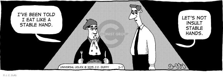 Cartoonist J.C. Duffy  Fusco Brothers 2015-02-07 eating out