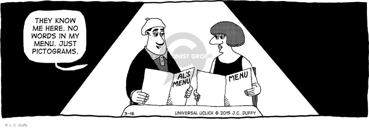 Cartoonist J.C. Duffy  Fusco Brothers 2015-03-16 eating out