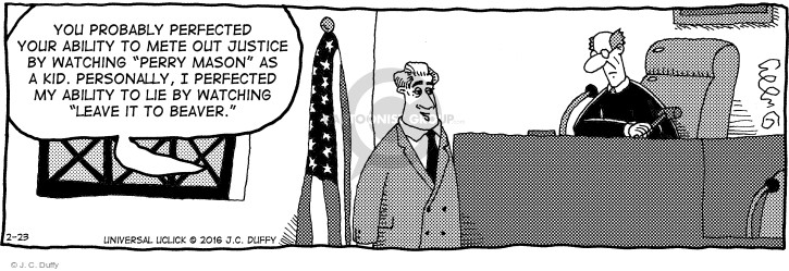 Comic Strip J.C. Duffy  Fusco Brothers 2016-02-23 justice