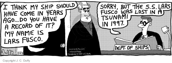 Comic Strip J.C. Duffy  Fusco Brothers 2007-11-23 information