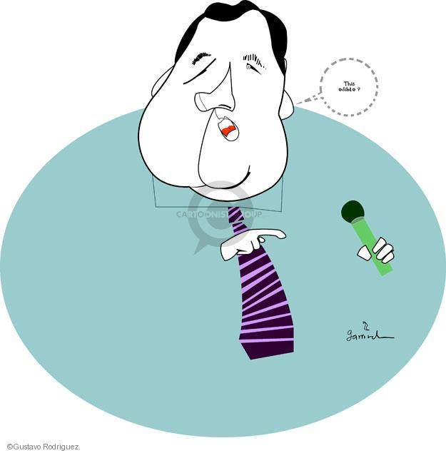 This edible? (A rotund Chris Christie asks if a microphone is edible).
