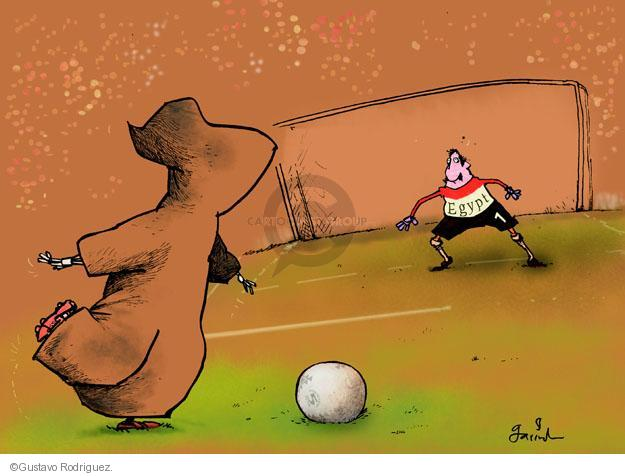 No caption. (The Grim Reaper is about to kick a goal while playing soccer against a goalie representing Egypt).