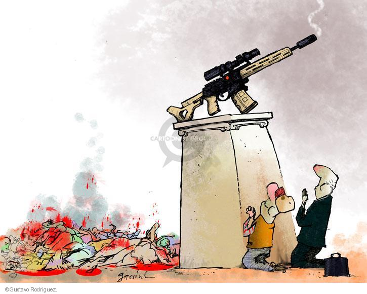 No Caption. (An assault rifle with smoke coming from the barrel is set on top of a pedestal with two people at its base on their knees praying to it as if a deity. In the background is a mass of dead, bloody bodies.)