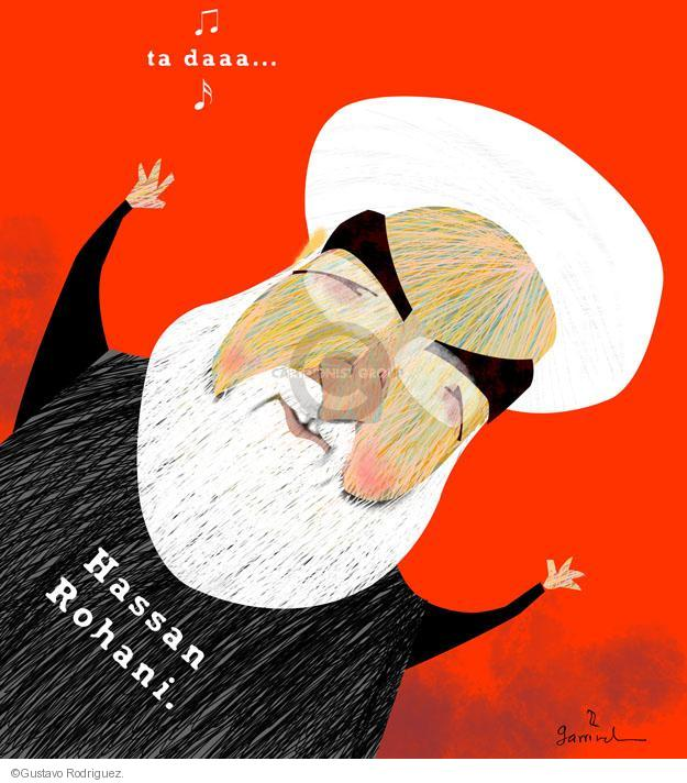 No caption (Illustration of Iranian President Hassan Rohani).