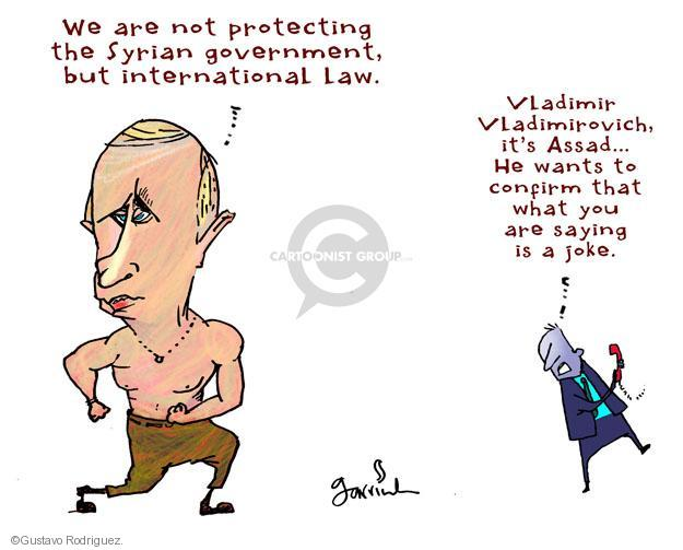 We are not protecting the Syrian government, but international law. Vladimir Vladimirovich, its Assad … He wants to confirm that what you are saying is a joke.